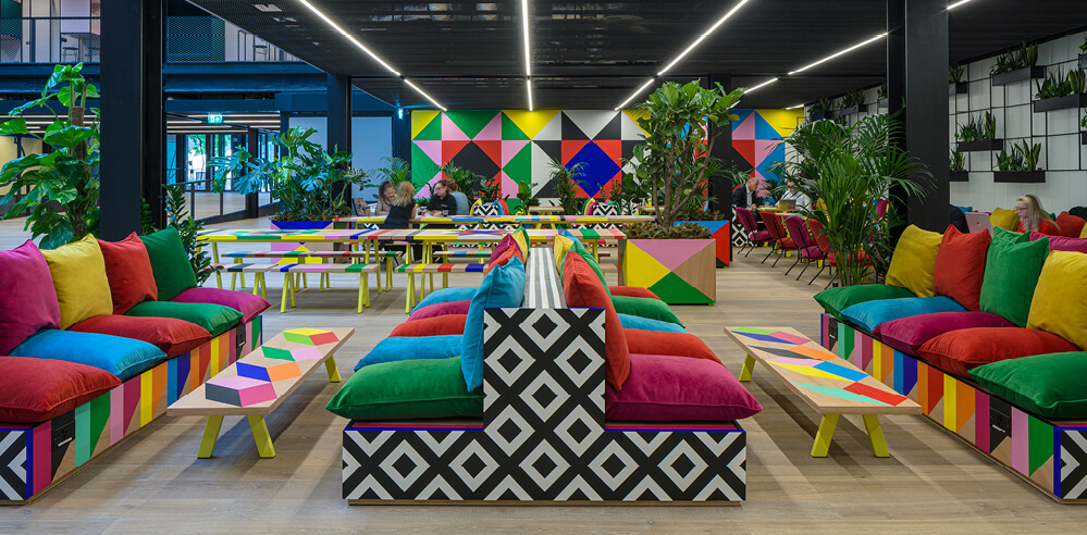 Morag Myerscough's 'Atoll' paints Broadgate in London with her signature palette