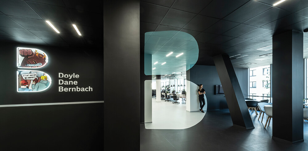B2 Architecture infuses an anamorphic optical illusion within DDB Prague office