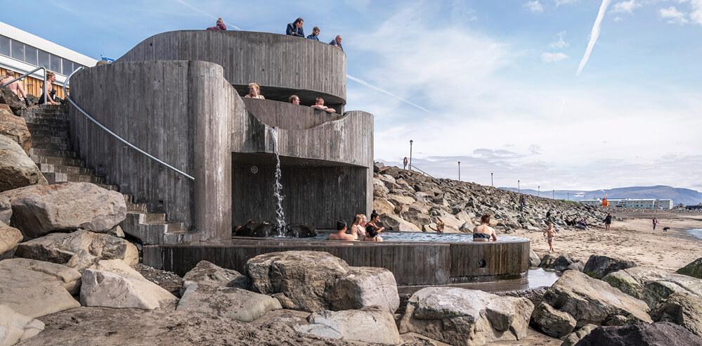 Basalt Architects' Guðlaug Baths in Iceland is a geothermal pool with ocean views