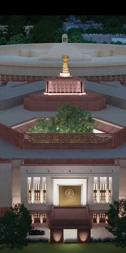 Foundation laid for four-storey triangular edifice for new Indian Parliament complex