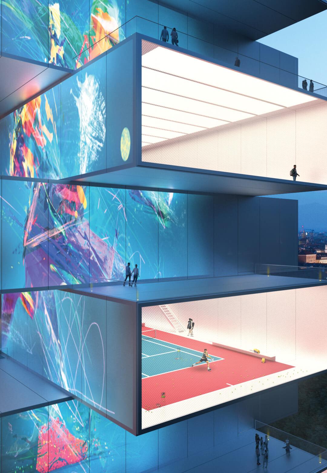 The Playscraper by Carlo Ratti Associati innovatively combines digital media display, sports entertainment, and prefab construction | Playscraper | Carlo Ratti Associati | STIRworld
