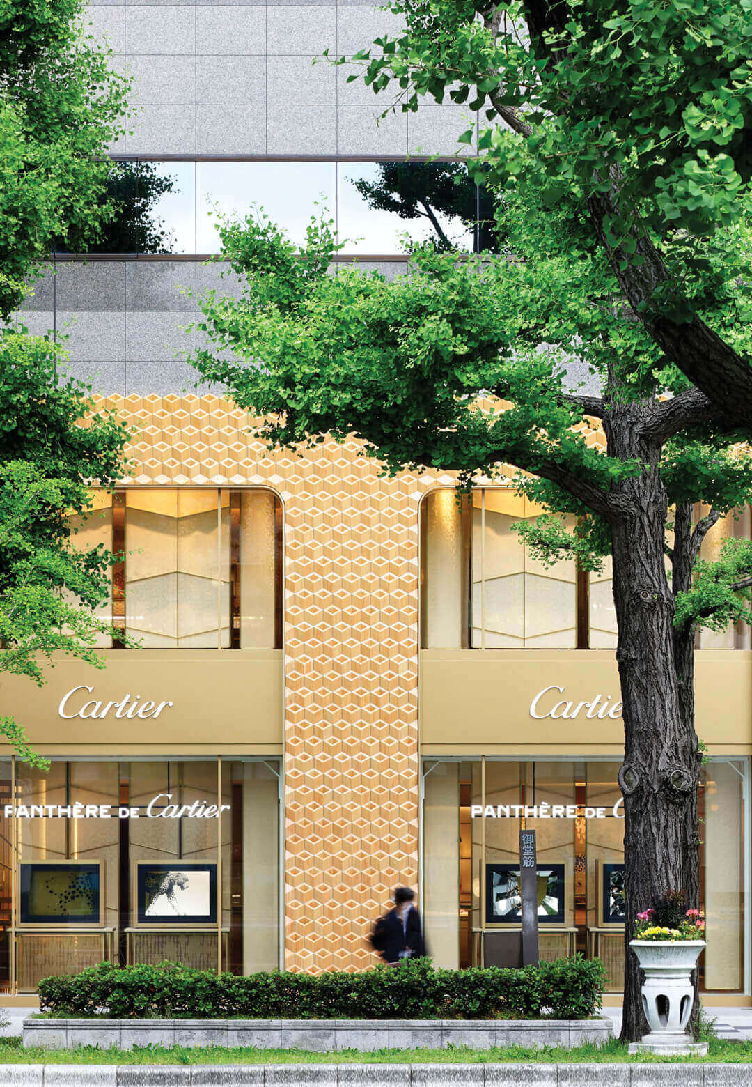 Klein Dytham architecture has developed a new diamond patterned wooden facade for Cartier's Shinsaibashi store in Osaka, Japan | Cartier Façade, Osaka | Klein Dytham architecture | STIRworld