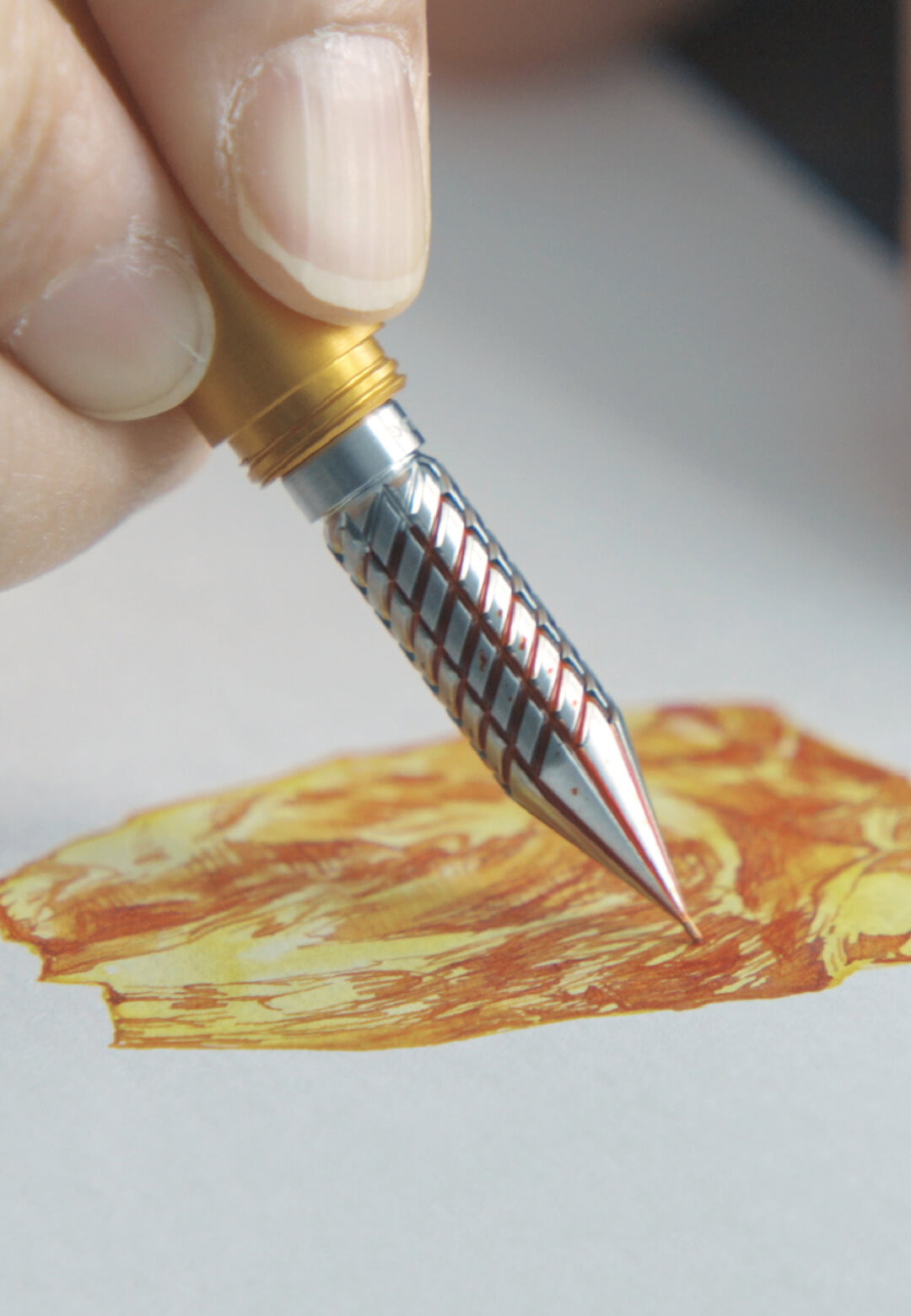 Drillog by Shion Co. Ltd. is a drill tipped pen that can be dipped in ink | Drillog | Shion Co. Ltd. | STIRworld