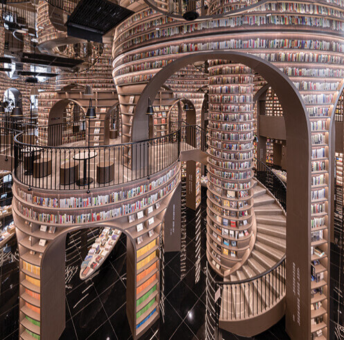 Dujiangyan Zhongshuge bookstore by X + Living is a surreal city of illusions
