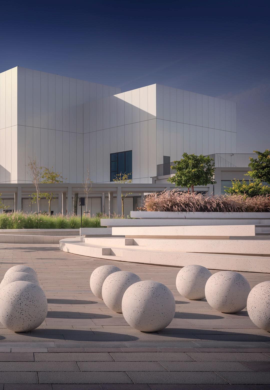 Jameel Arts Centre with Jaddaf Waterfront Sculpture Park in foreground | STIRWorld