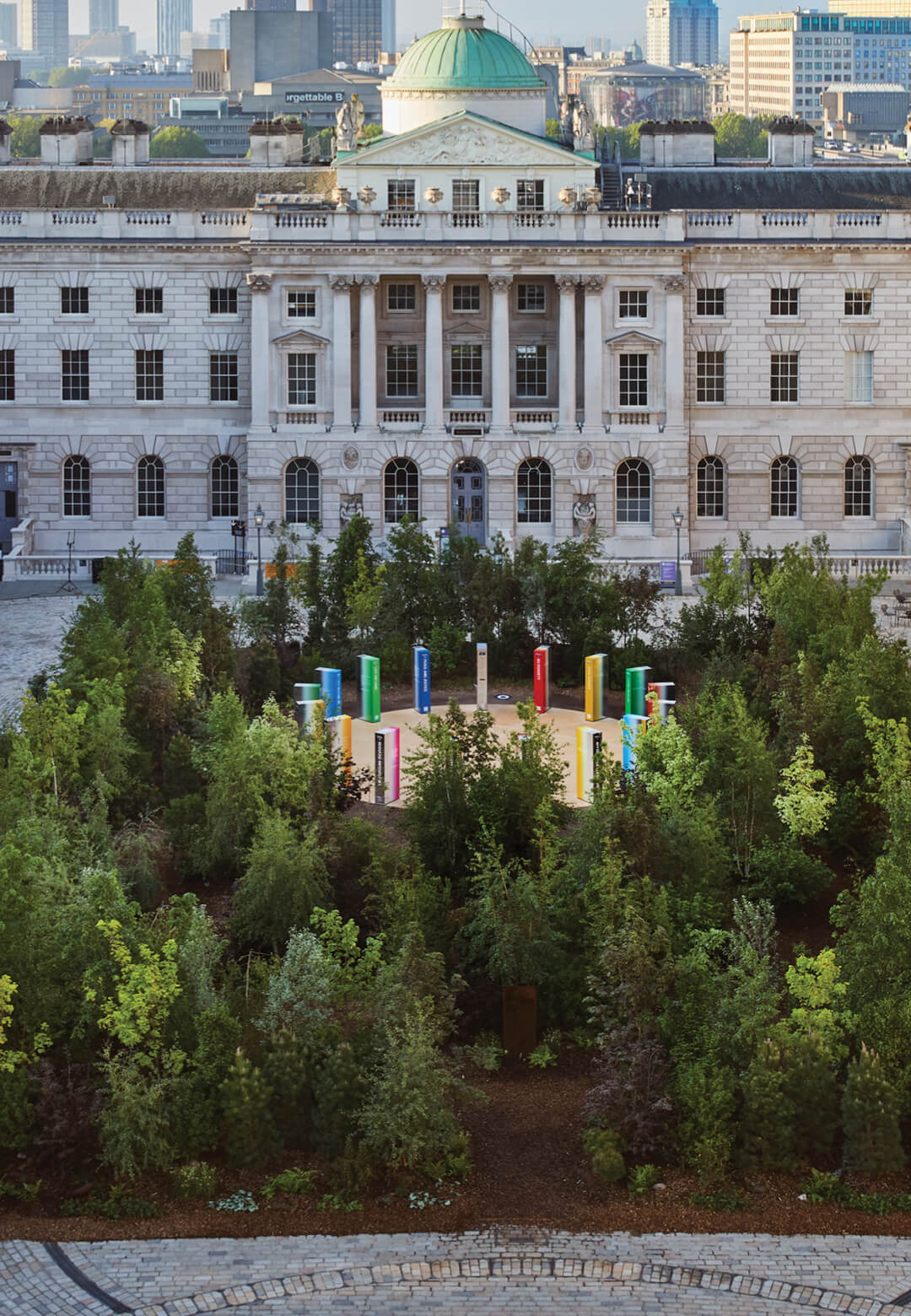 Forest for Change, designed by Es Devlin, graces the courtyard of Somerset House in London, welcoming visitors to the 2021 London Design Biennale | Forest for Change by Es Devlin | STIRworld