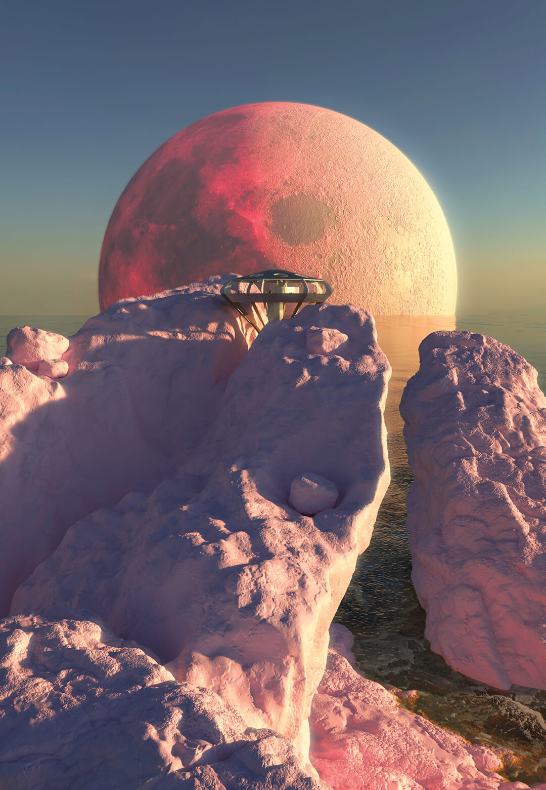 Charlotte Taylor and Zyva Studio imagine Neo Chemosphere against a blood pink moon  | Neo Chemosphere visualised by Charlotte Taylor and Zyva Studio | STIRworld
