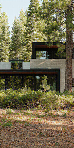 Forest House by Faulkner Architects rests low amid a lush Californian woodland