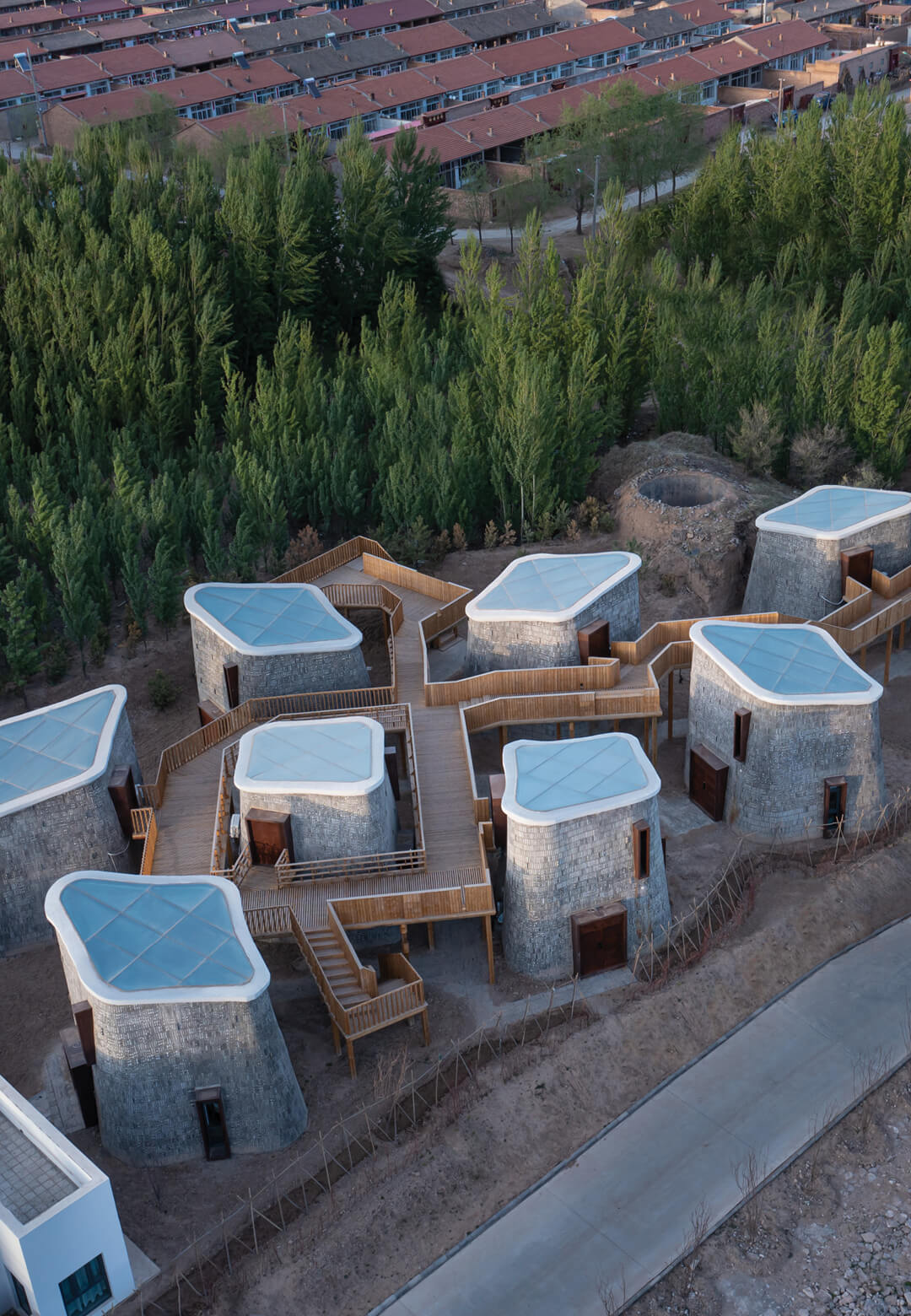 Grotto Retreat Xiyaotou by A( )VOID is made of a cluster of nine interconnected vertical pods   Grotto Retreat Xiyaotou by A( )VOID   STIRworld