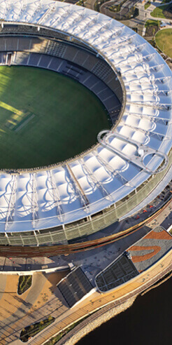 Hassell envisions a ring pull-shaped viewing platform on the Optus Stadium roof in Perth