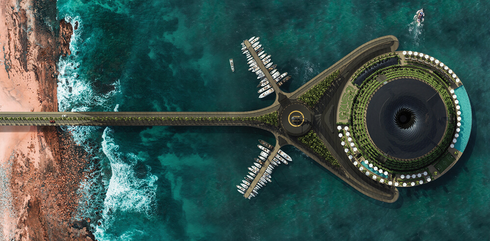 Hayri Atak's concept for an eco-friendly floating hotel channels swirling vortexes