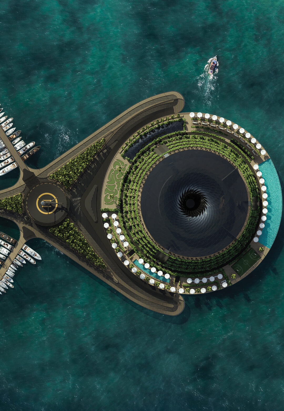 Hayri Atak Architectural Design Studio has designed a concept for a Floating Eco-Friendly Hotel | Hayri Atak Architectural Design Studio| Qatar | STIRworld