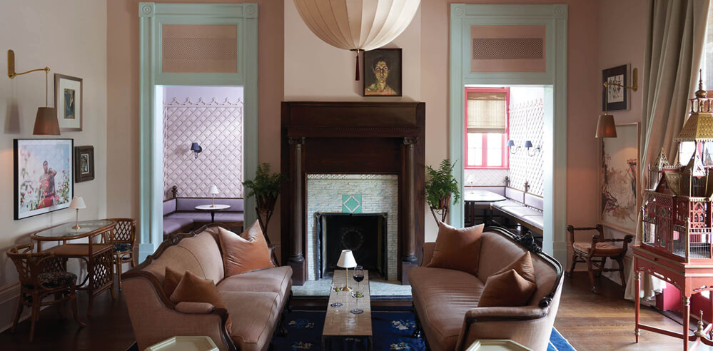 Inside The Chloe, a Victorian-era themed New Orleans restaurant, bar and hotel