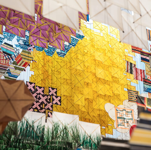Jacob Hashimoto's works converge traditional arts and modern abstraction