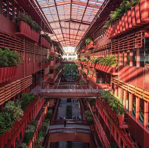 Jean Nouvel's 'Street of 1000 red jars' pierces through Henderson Cifi Tiandi in Shanghai
