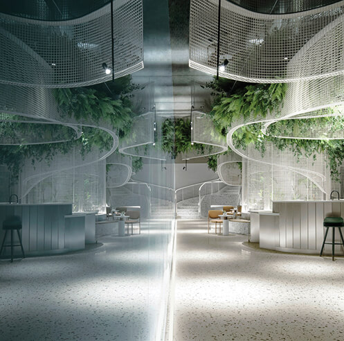 Fluttering ribbons and fantasy mark Karv One Design's Vista Café project