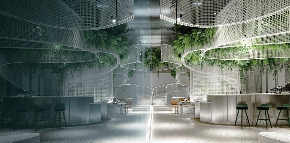 Fluttering ribbons and fantasy mark Karv One Design's Vista Café project