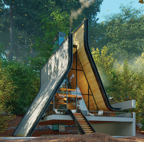 'Kujdane' by Shomali Design is a modern take on typical A frame houses