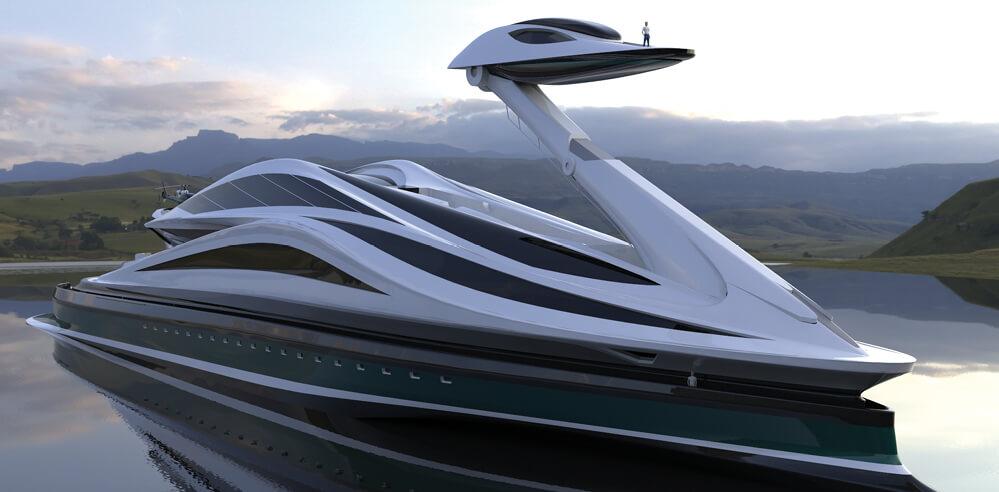 Lazzarini Design Studio unveils zoomorphic swan-shaped mega-yacht 'Avanguardia'