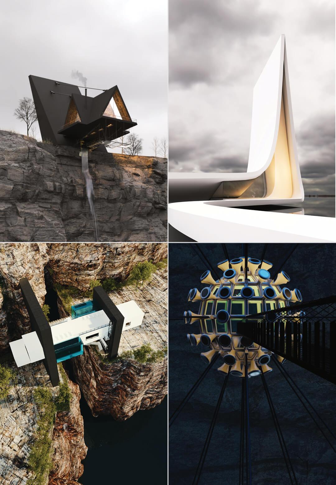 Suspended House, White House, Bridge House, Mountain House and Covid House conceptualised by Iranian architect Milad Eshtiyaghi   Living on the Edge with Milad Eshtiyaghi   STIRworld
