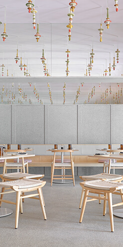 Local handicrafts feature inside restaurant Lucky Chan by MAIA Design Studio