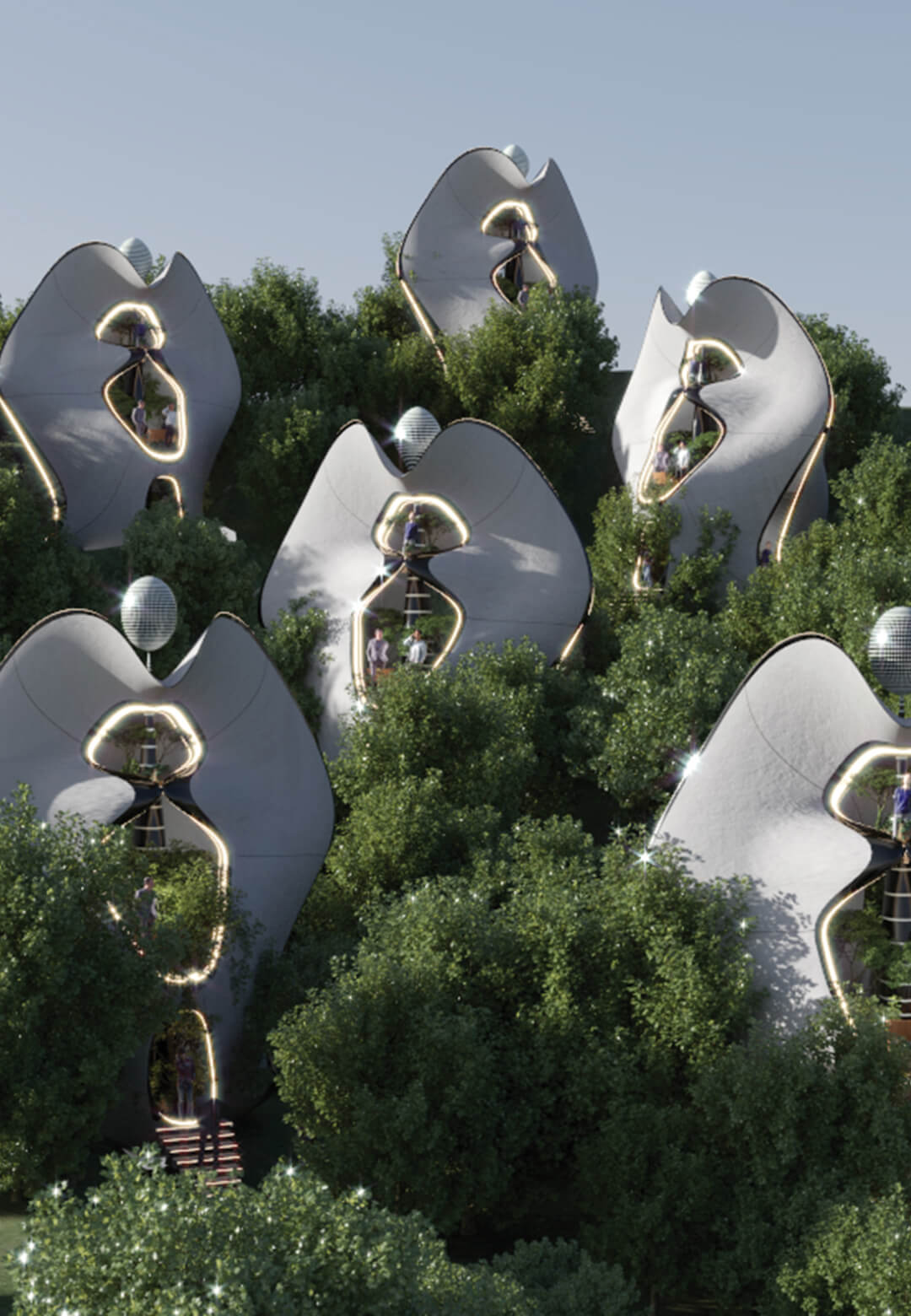 The proposed housing community is titled Mother Nature and is inspired by nature and Costantino Nivola's La Madre sculpture | Exosteel Mother Nature Modular Prefabricated Living Museum Houses | MASK Architects | STIRworld