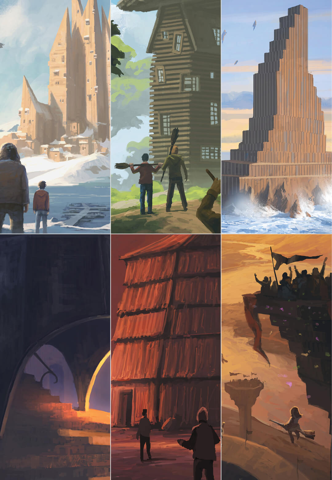 The new covers for the 2021 Italian edition of the Harry Potter books published by Salani Editore are centered on architecture of iconic locations from the novels | Harry Potter Book Covers | Michele De Lucchi/ AMDL Circle | STIRworld