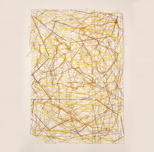 Natasha Das explores tactile experiences with thread and oil in her abstract canvases