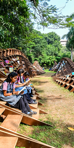 NUDES fosters love for reading with the sustainable Bookworm pavilion in Mumbai