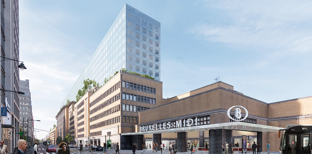 OMA reveals plans to convert three vacant buildings into SNCB Headquarters, Brussels