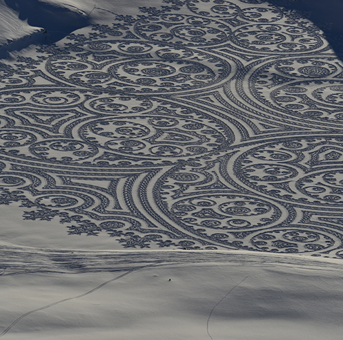 Perseverance and patience define the works of the British snow artist Simon Beck