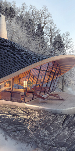 YEZO by LEAD: A swirling sanctuary nestled in the Hokkaido mountains in Japan