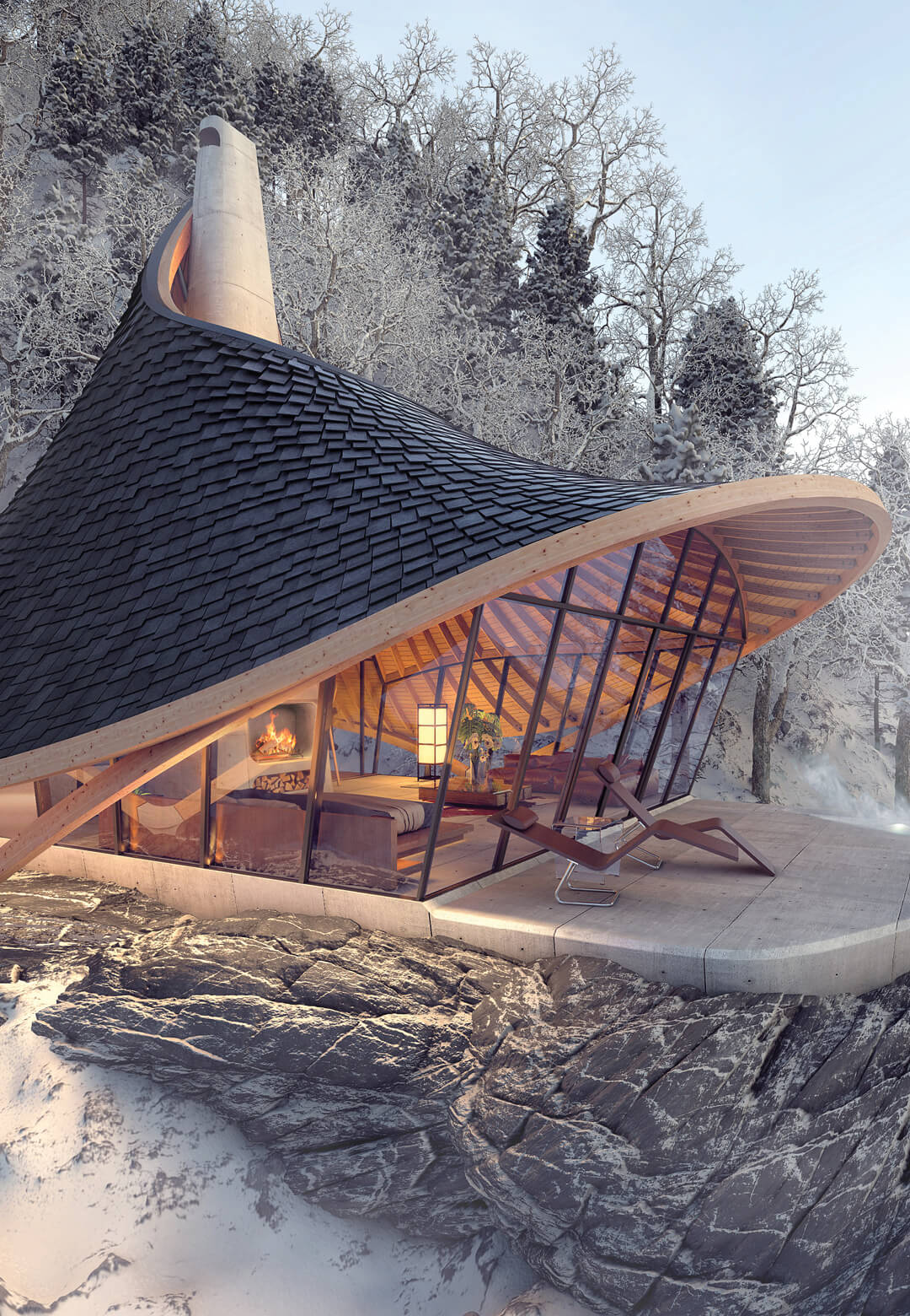 YEZO is a mountain retreat in Hokkaido by LEAD that couples a minimalistic spatial approach with a computation-driven design for its shell like roof | YEZO Mountain Retreat | Laboratory for Explorative Architecture and Design | STIRworld