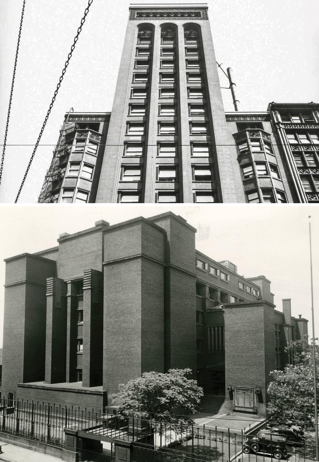 L to R: Garrick c. 1953, Frank Lloyd Wright, Larkin Administration Building, 1934 | Romanticism to Ruin: Two Lost Works of Sullivan and Wright | STIRworld