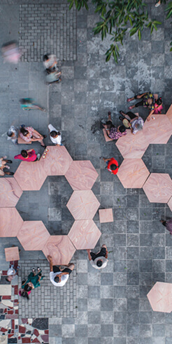 Rooi Design and Research recycles Pavilion S into rural street furniture