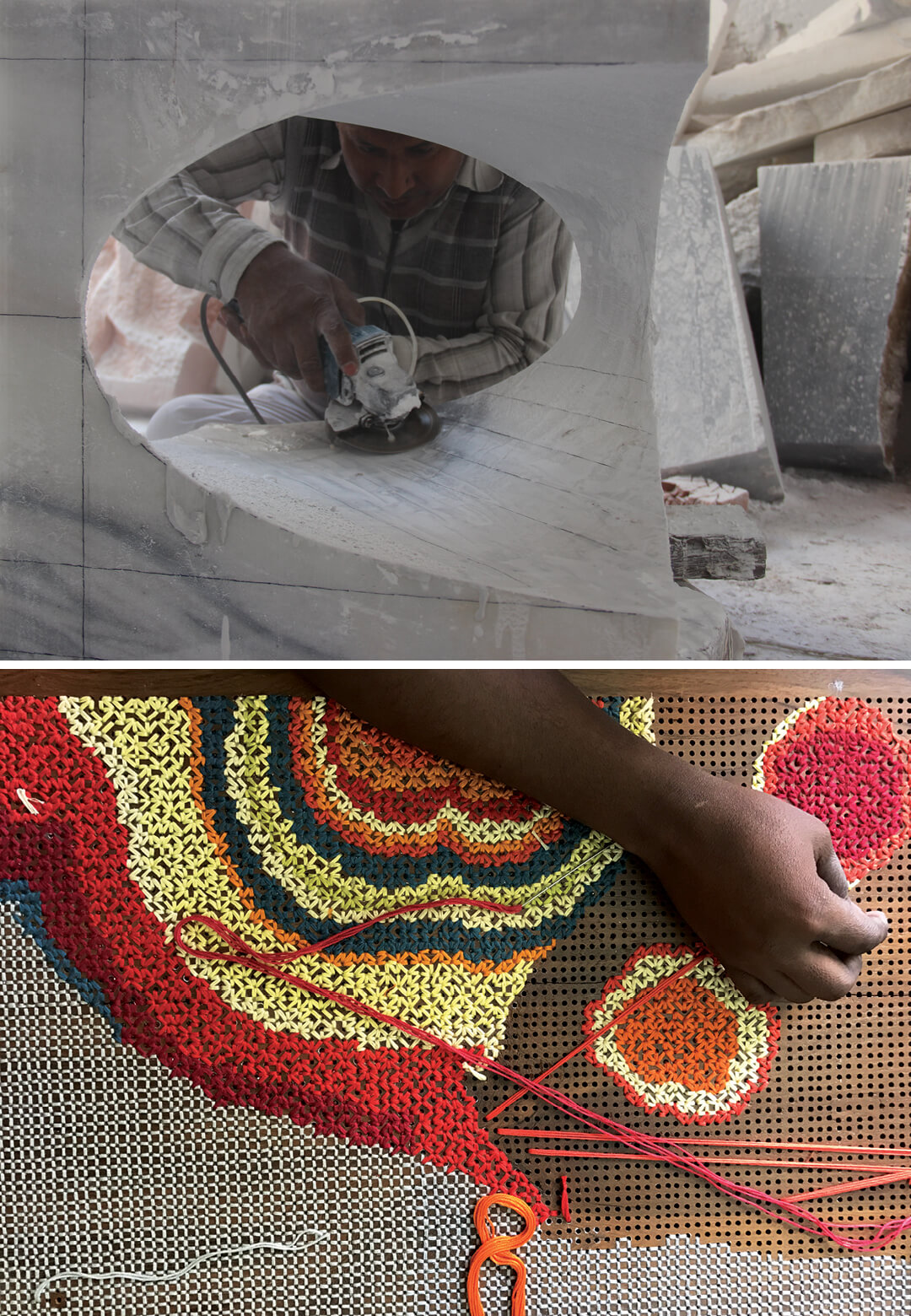 Left: Embroidery on Wood, Right: Marble Carving | Rooshad Shroff | STIRworld