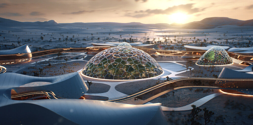 Space-inspired village EBIOS reimagines sustainable living on Earth and Mars