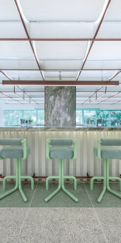 Space Popular uses soft pastels and custom furniture for a day spa in Bangkok