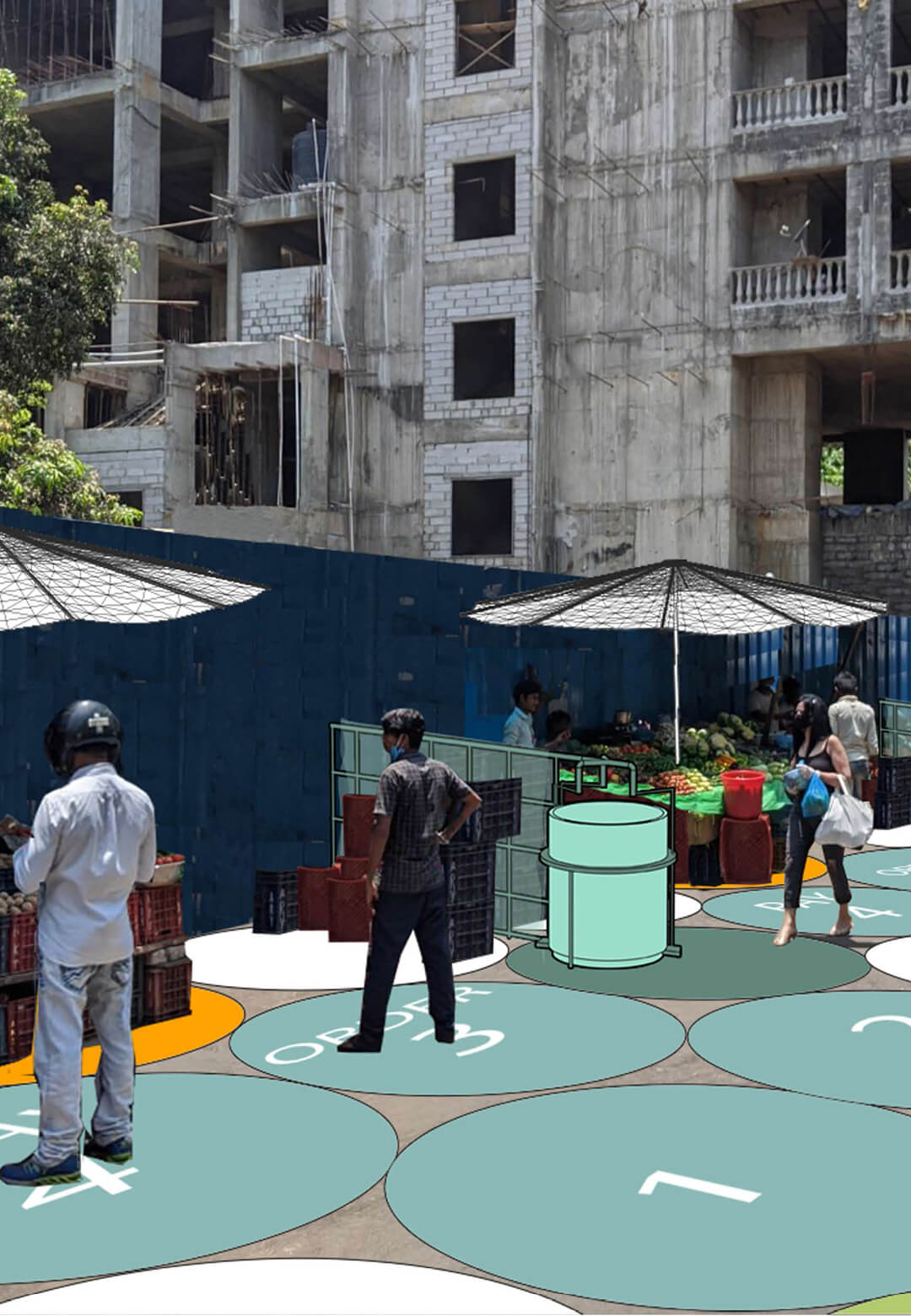 The six modules proposed by the Bandra Collective applied to the Pali market | Mumbai Street Lab | COVID Safety Initiative | STIRworld