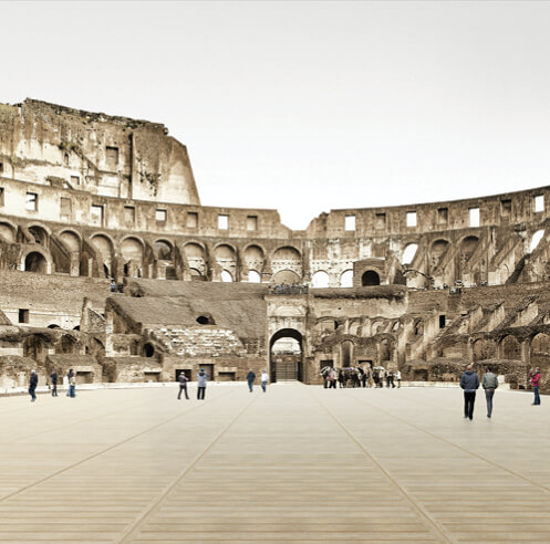 The Colosseum's new arena floor is a web of mechanically controlled wooden slats