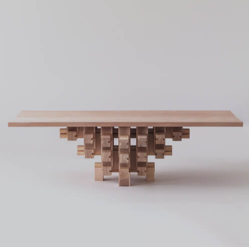 The Dougong Table by Mian Wei assembles without glue or screws