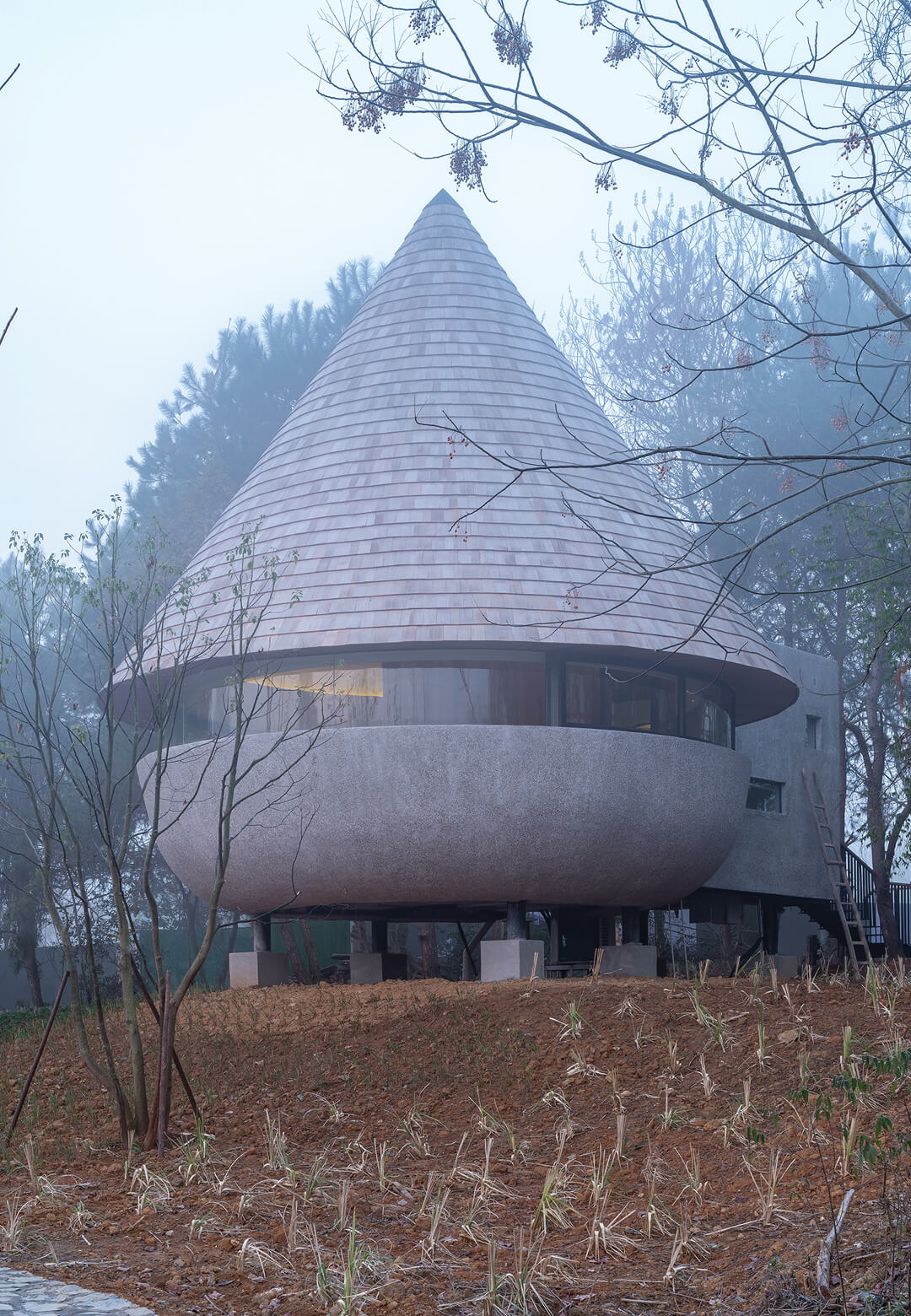 The Mushroom by ZJJZ - a cone-shaped guest house nestled within a pine forest in China's Jiangxi province | ZJJZ | China | STIRworld