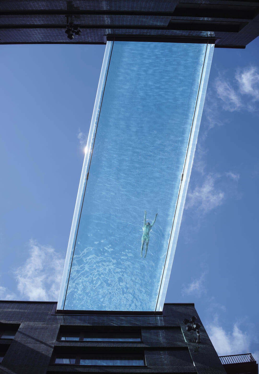 Sky Pool is a transparent acrylic swimming pool suspended ten storeys above ground in London's Embassy Gardens   Sky Pool by HAL Architects and Eckersley O'Callaghan Engineers   STIRworld