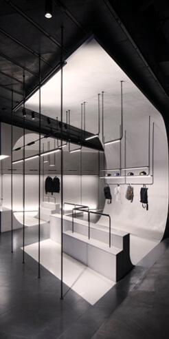 Akenz's luxury streetwear store in Shanghai by Lukstudio is evocative of a skatepark