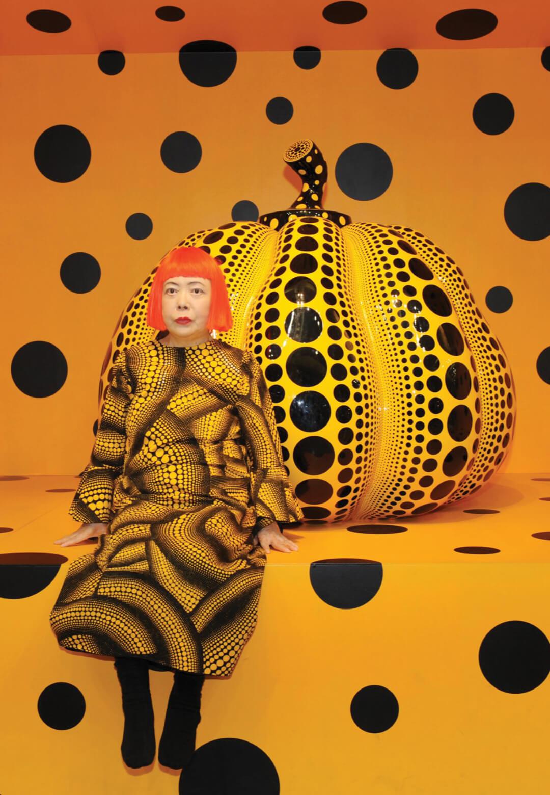 Yayoi Kusama with Pumpkin (2010) | Cosmic Nature | Yayoi Kusama| STIRworld