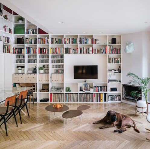 Zooco Estudio plants a two-storey bookshelf in the renovated 6House in Madrid, Spain