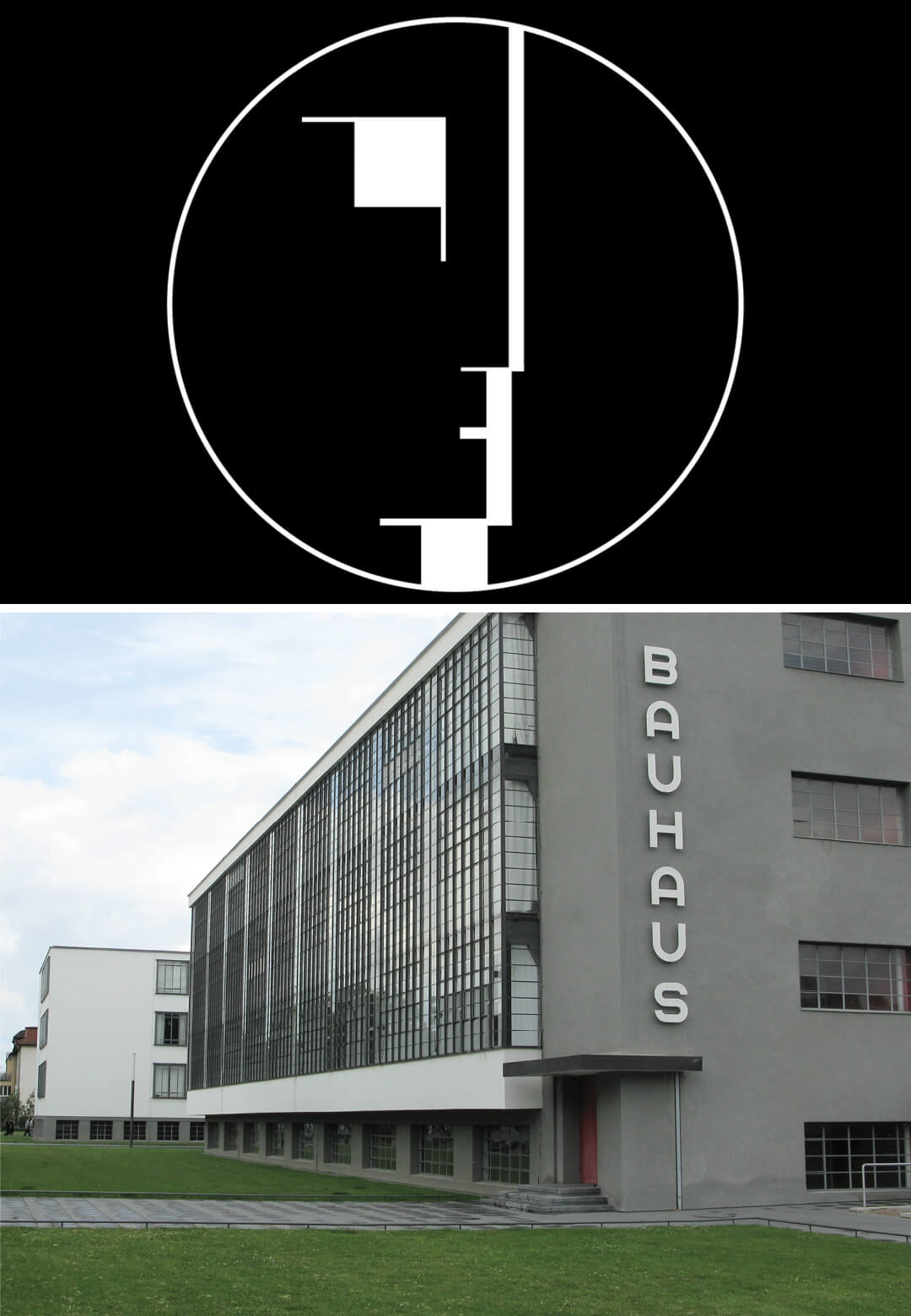 (L) The Bauhaus emblem, designed by Oskar Schlemmer, adopted in 1921 and (R) The iconic Bauhaus building in Dessau | European Bauhaus | European Commission | STIRworld