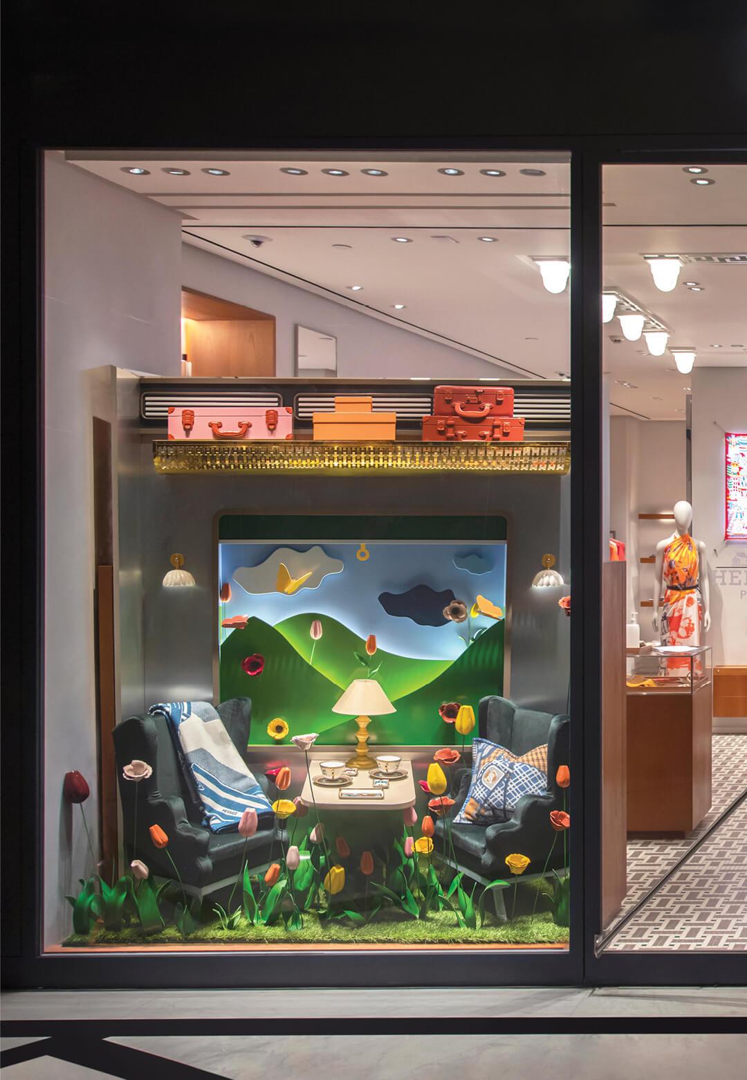 Hermès store in Delhi with festive window display (2020) | Hermès Festive Windows in India (2020) | STIRworld