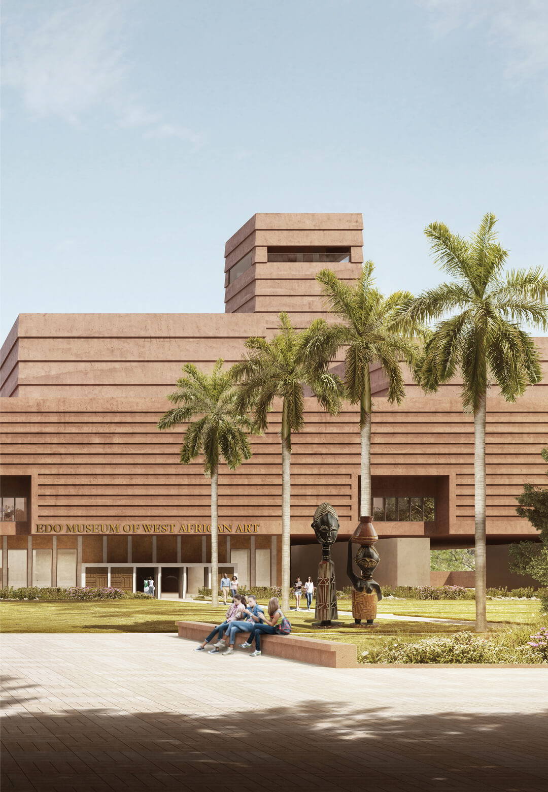 View of main entrance to the Edo Museum of West African Art and courtyard garden in Benin City, Nigeria | Edo Museum of West African Art by Adjaye Associates | STIRworld