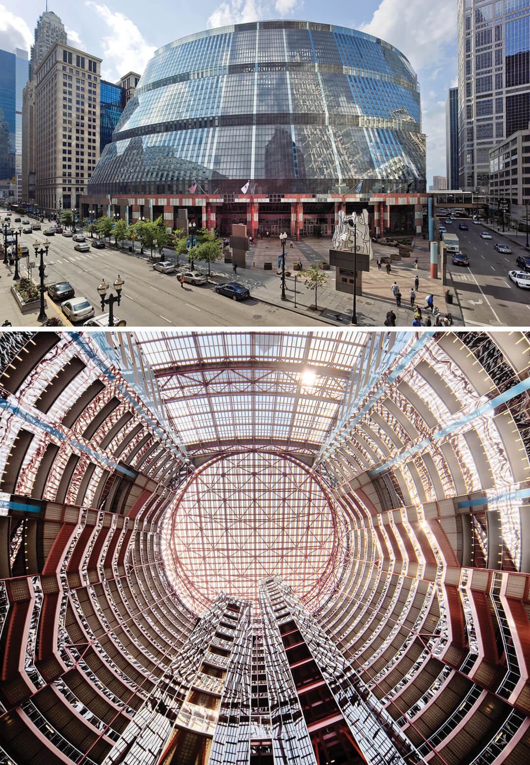 The Thompson Center designed by Helmut Jahn in 1985 in Chicago, USA. The building is topped with a sliced-off cylindrical crown and serves as a central skylight over the 17-storey, 160-foot-diameter rotunda below | STIRworld